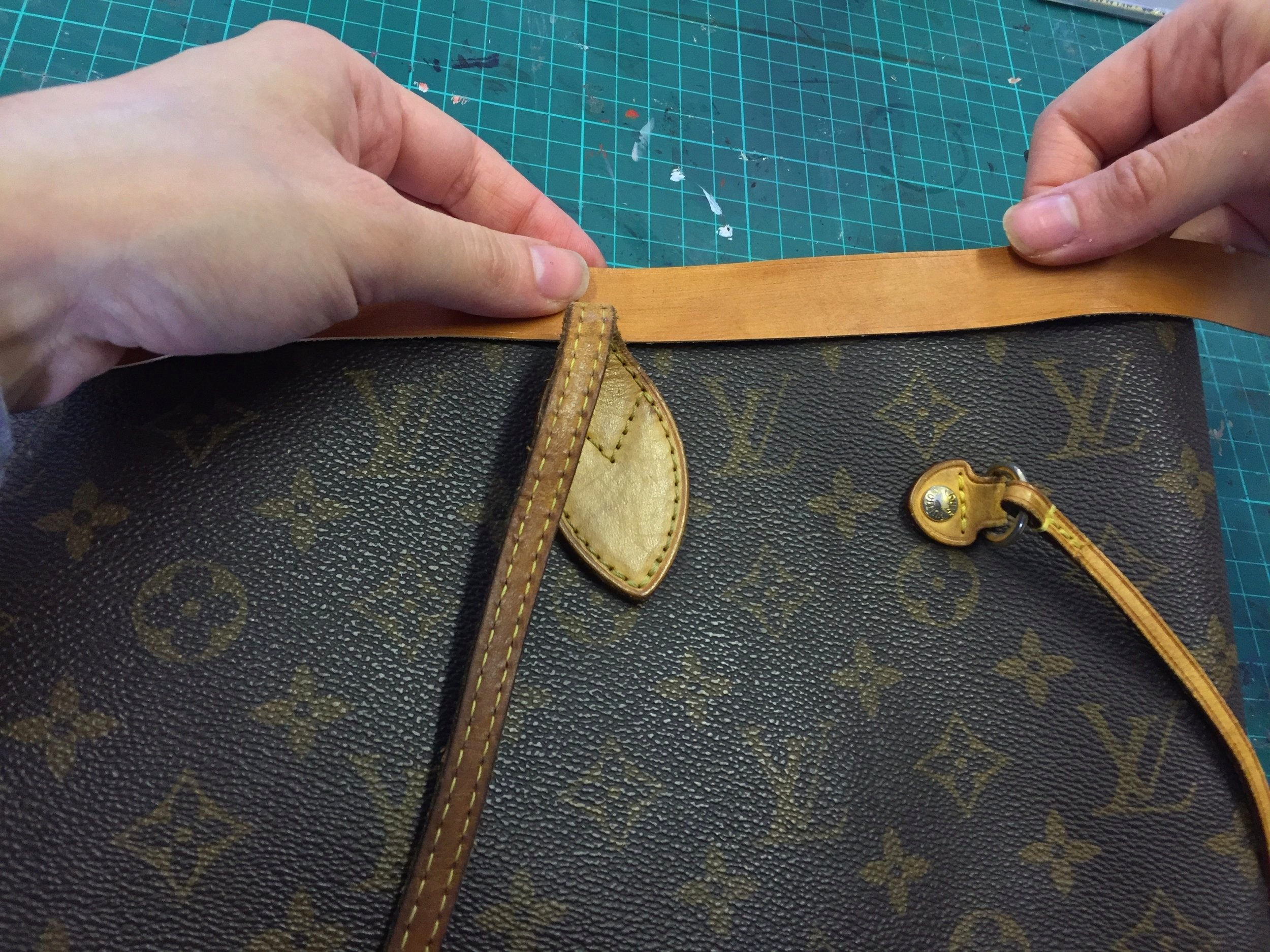 Glueing The Leather To The Bag