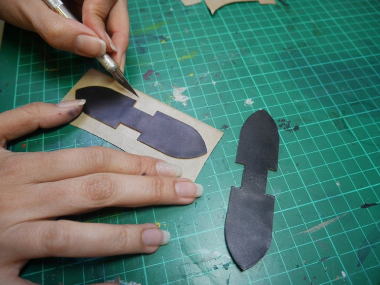 Cutting the leather tabs