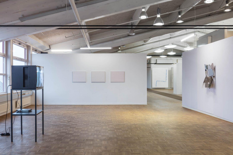 Installation view (pictured with Lynn Hershman Leeson, left; David Ostrowsk righti; Matt Keegan, far right)