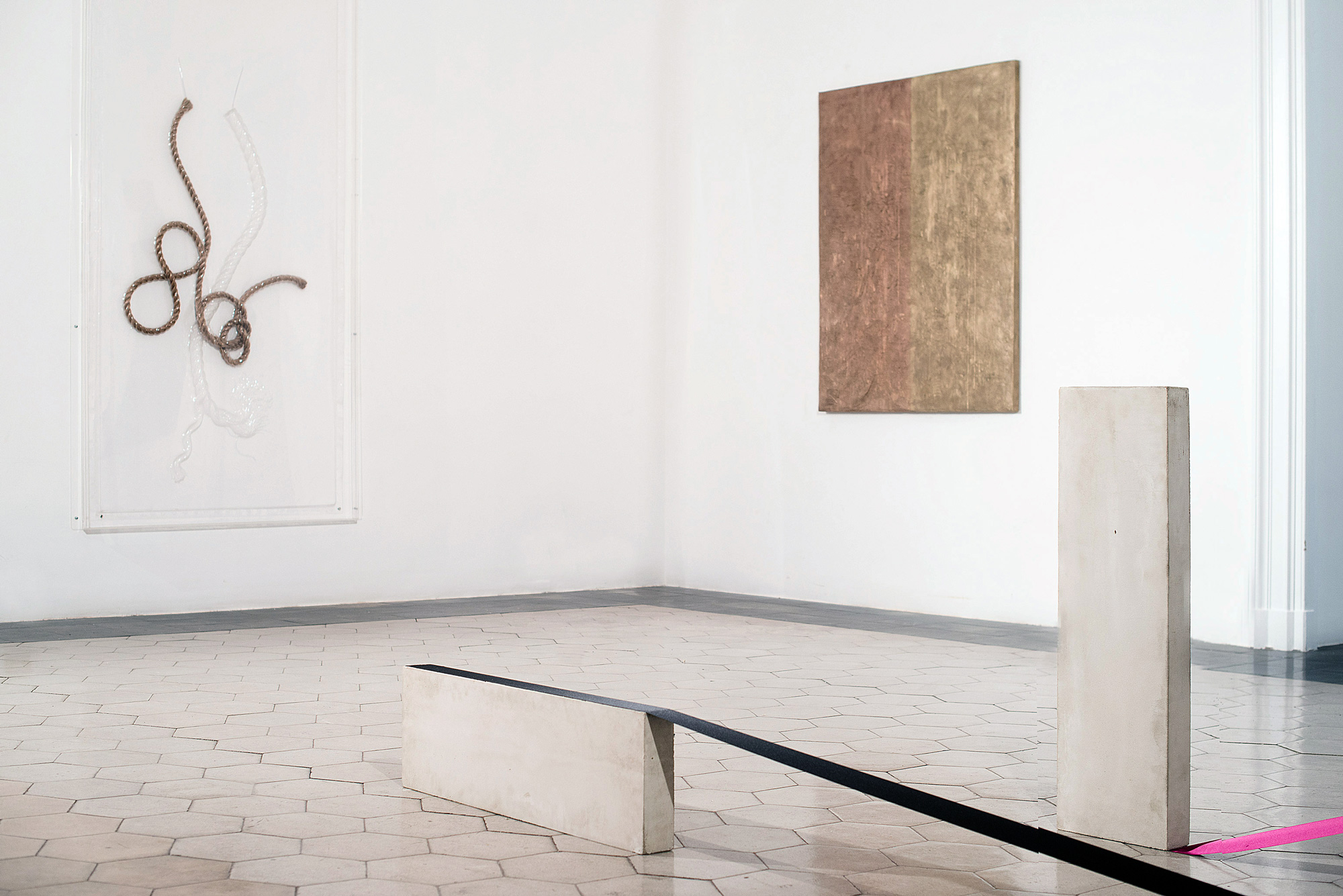installation view (pictured with Seth Price, left; Mitzi Pederson, foreground)
