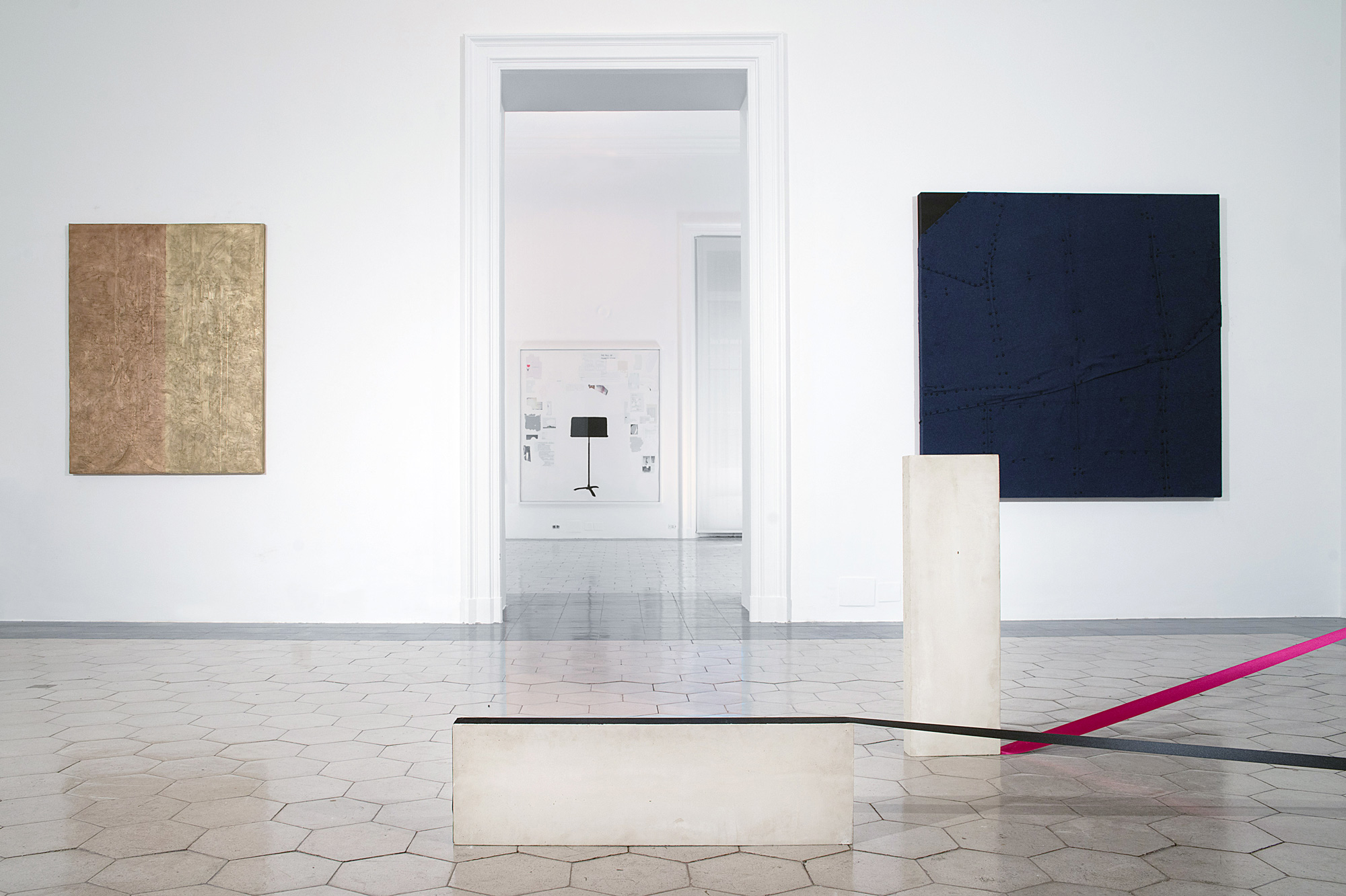 Installation view (pictured with Frances Stark, background;  Mitzi Pederson, foreground; Tom Burr, right)