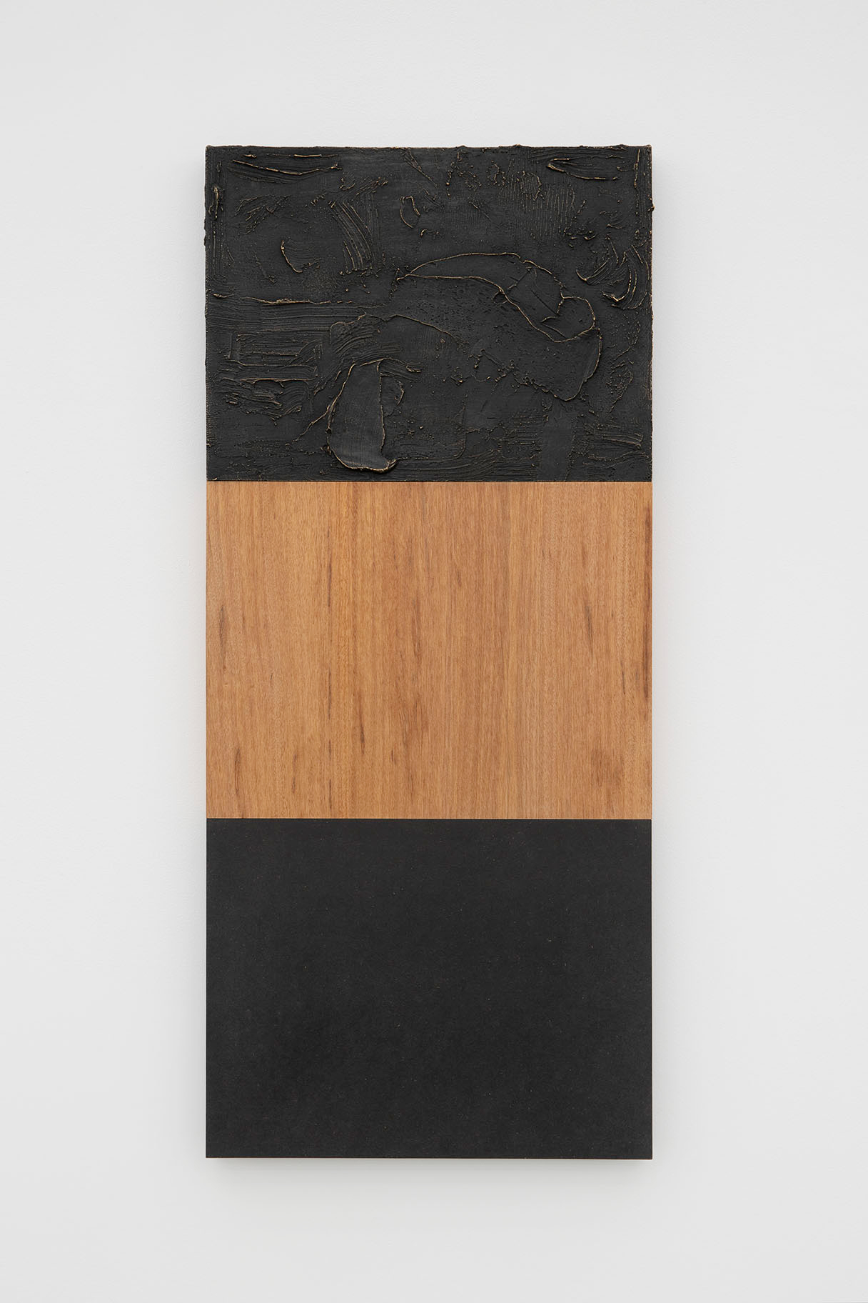 Floor, Wall, Ceiling , 2012/2019, patinated brass, anigre wood, colored MDF, 36 x 15 inches (91.5 x 38 cm)