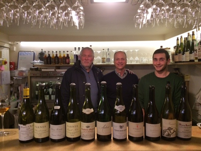 The after tasting lineup with Gérard Pantanacce (Café du Passage), Jim and Marin from L'Ambassade.