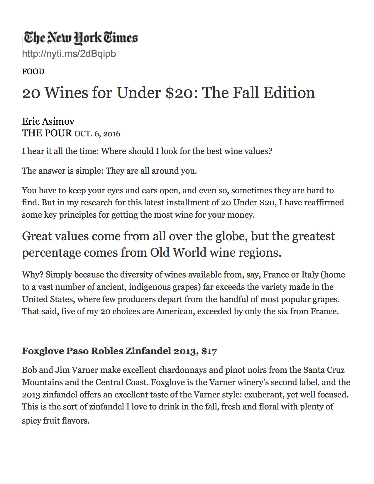 2013 Foxglove Zinfandel 20 Wines for Under $20: The Fall Edition - The New York Times.jpg