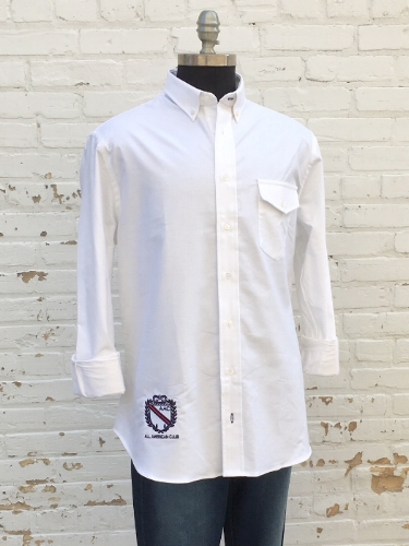 AAC Oxford - $175.00Our new All American Club oxford sport shirts in classic white.Signature crest on bottom right - in navy, red & white. Meant to be worn untucked for any casual outings - for every man.100% cotton oxford cloth.Button front pocket.Available in Classic fit or Tailored fit.Available in white.Made in the USA.BUY NOW