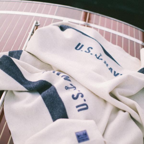 U.S. Navy Throw - $249.00Foot soldier military wool throw blanket in cream with navy: U.S. Navy.Twin Size: 66