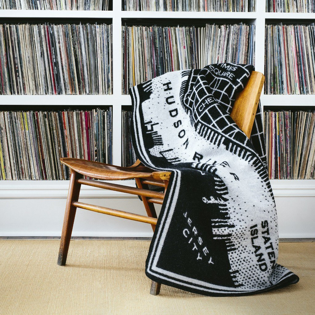 Vintage City Map Throw - $225Crafted from fine merino wool with just a touch of cotton, it has a remarkably luxurious hand. Available for different cities - New York, Chicago, and San Francisco. Black and smoke with a reverse design on the opposite side.Twin 50