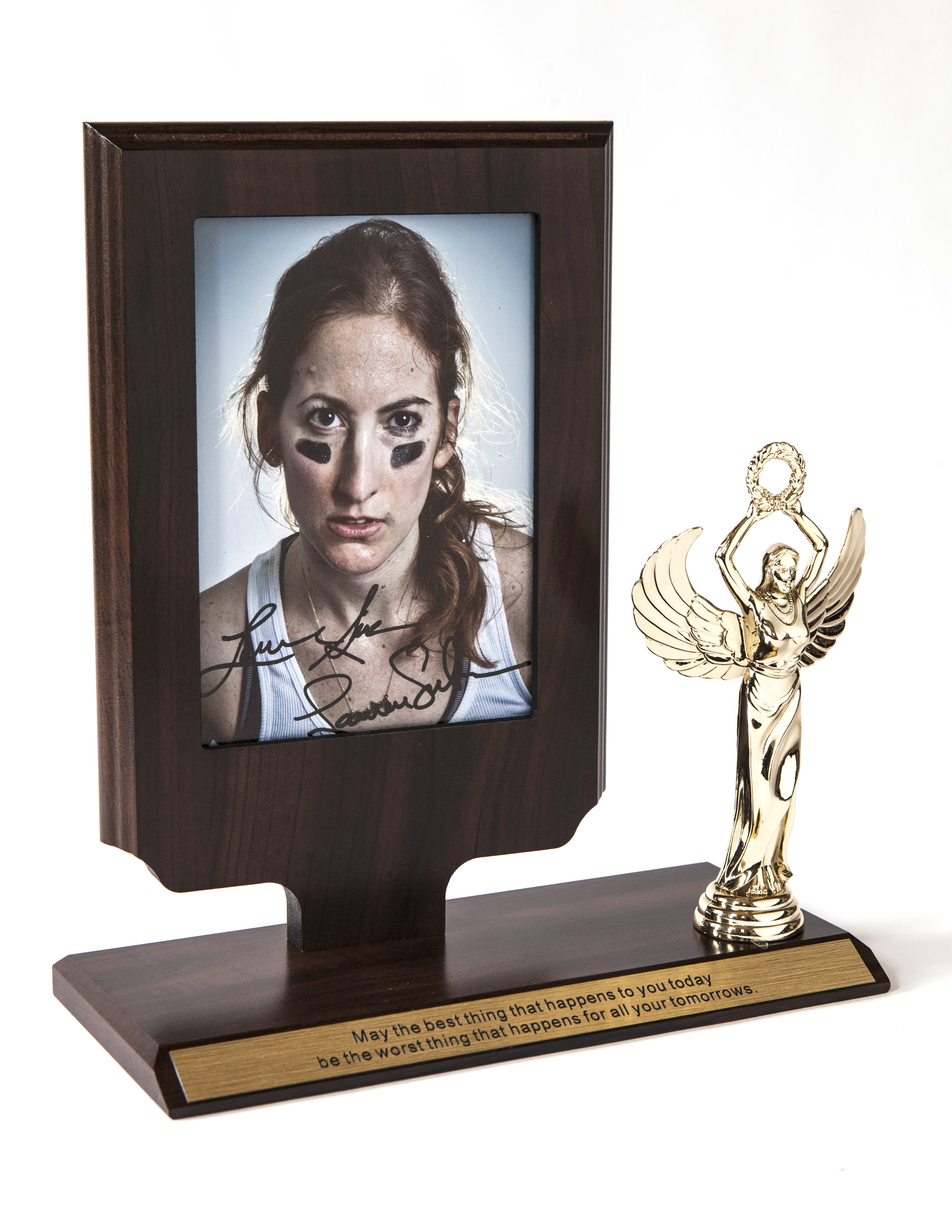 After being mistakenly contacted by multiple news agencies, including Fox News, NBC, and Al Jazeera for being the first female to try out for the NFL, artist Lauren Silberman tracked down and contacted NFL hopeful, Lauren Silberman and invited her to be photographed. The resulting piece, Face Off, is a composite of their two faces framed in a trophy, confirming the continued confusion between their identities based solely on their name.  Face Off  was first exhibited at the Spring/Break Art Fair in 2016 as part of the show  Doppelnamer , which she also co-curated.
