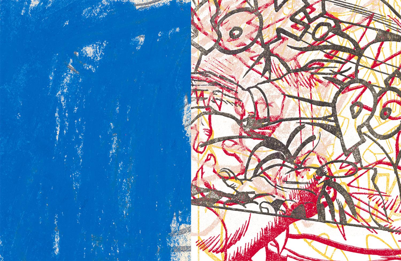 "Blue Pow,  2004, 41 5/8 x 63"", digital print, plexiglass and frame."