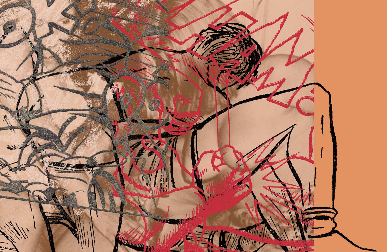 "Red Pow , 2004, 43 5/8 x 63"", digital print, plexiglass and frame."