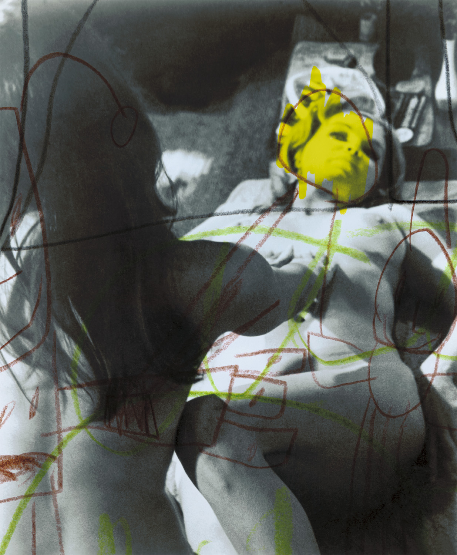 "Yellow Nude , 2003, 21 1/4 x 17 3/4"", digital print, plexiglass and frame."