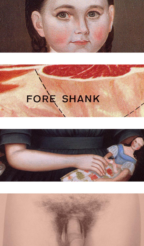 "Exquisite Corpse 1,  2000, 68 x 36"" (4 panels), digital print, plexiglass and custom hardware."
