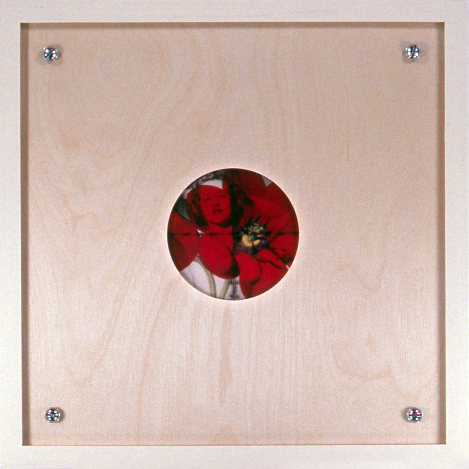 "Peephole 10 , 1996, 10 1/2 x 10 1/2"", mixed media with frame."