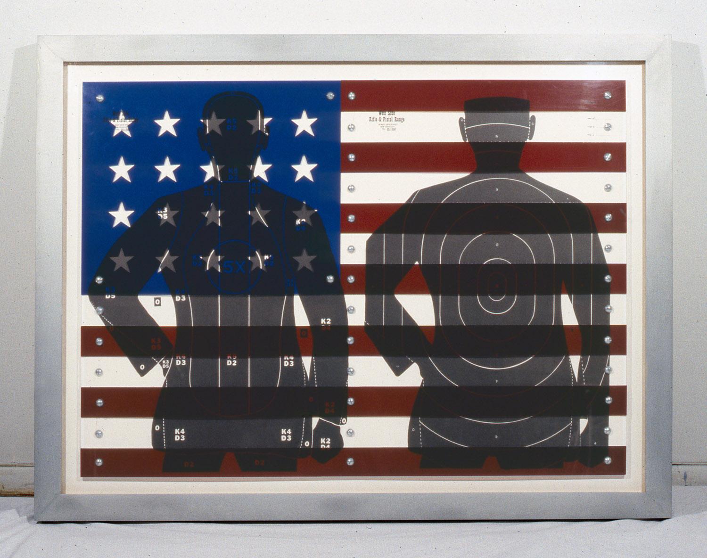 "American Flag , 1991, 36 x 47"", mixed media with custom metal frame."