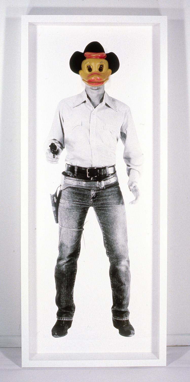 "Cartoon Cowboy , 1995, 69 x 28"", mixed media with frame."