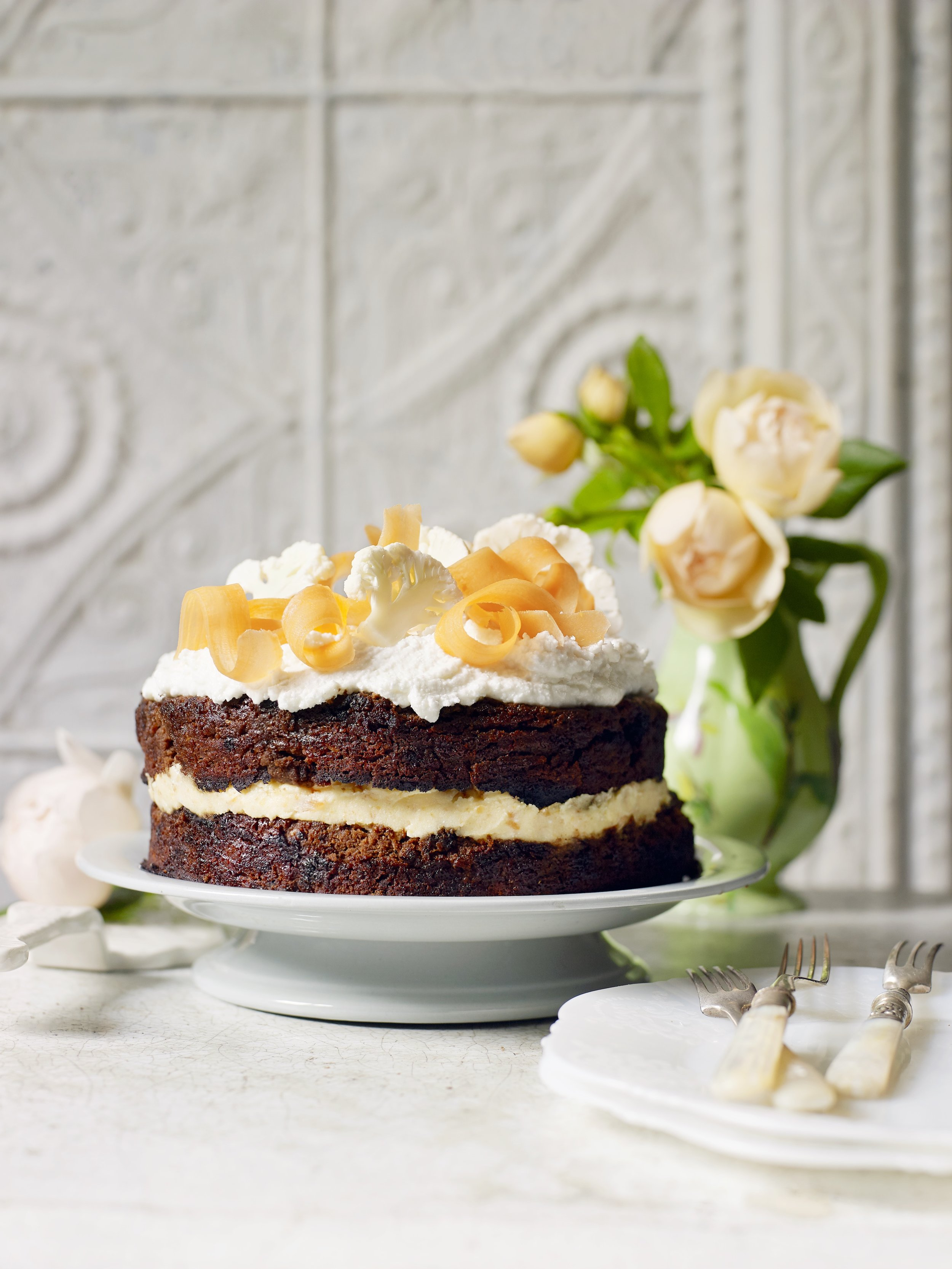 Cauliflower, Chocolate and Coconut Cake - A super moist vegan layer cake with maple syrup