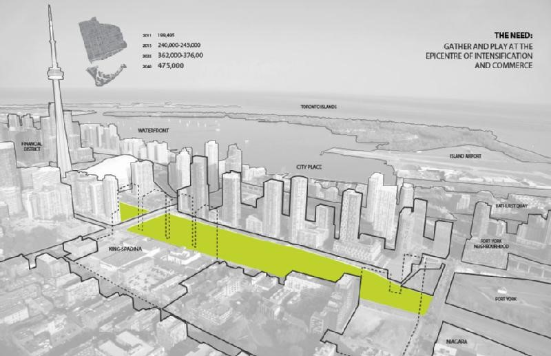 City of Toronto concept of the proposed Rail Deck Park. Image courtesy of  http://bit.ly/2f9tybE