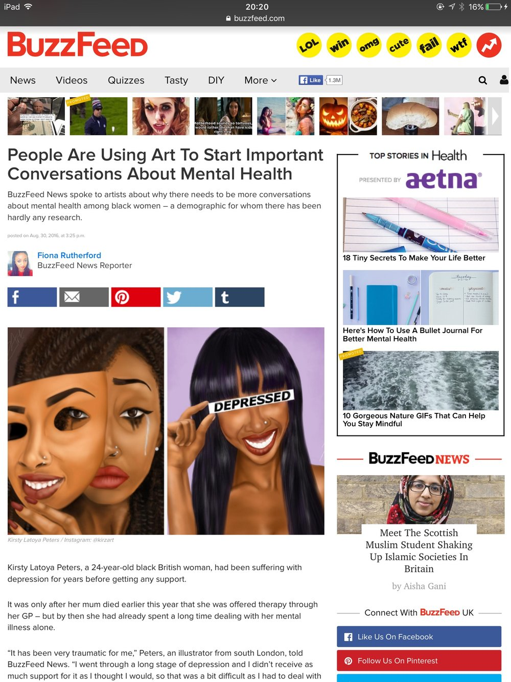BUZZFEED - I was so happy to be contaced by Buzzfeed to discuss my story with mental health and how i use art to deal with it. Click the image or here to read.