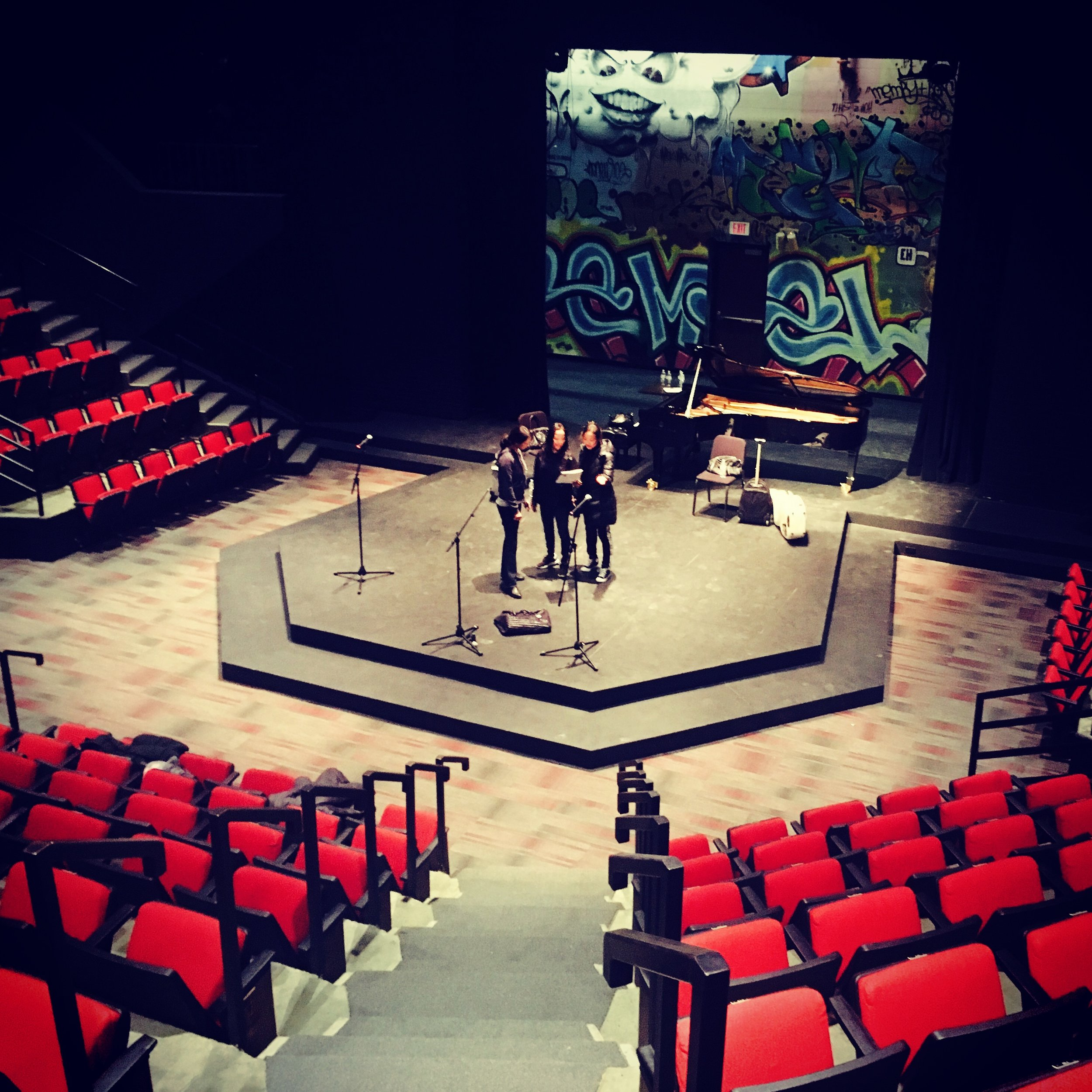 Ahn Trio at rehearsal pre-concert at Minnesota State University, loving the cool unique stage!