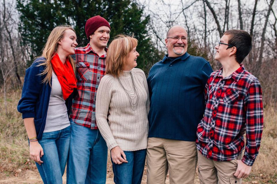 my family, november 2015  from left to right:  hannah, 20; connor, 21;jacqui, 55; keith, 52; liam, 13