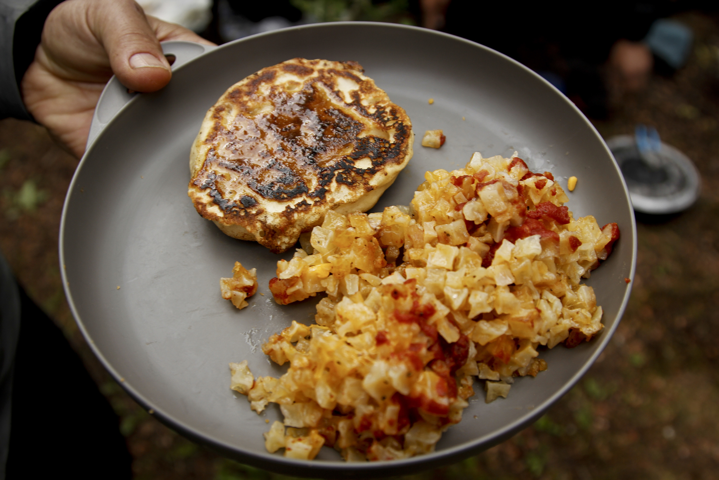 How about some hotcakes and hash browns with hand fashioned syrup and ketchup?