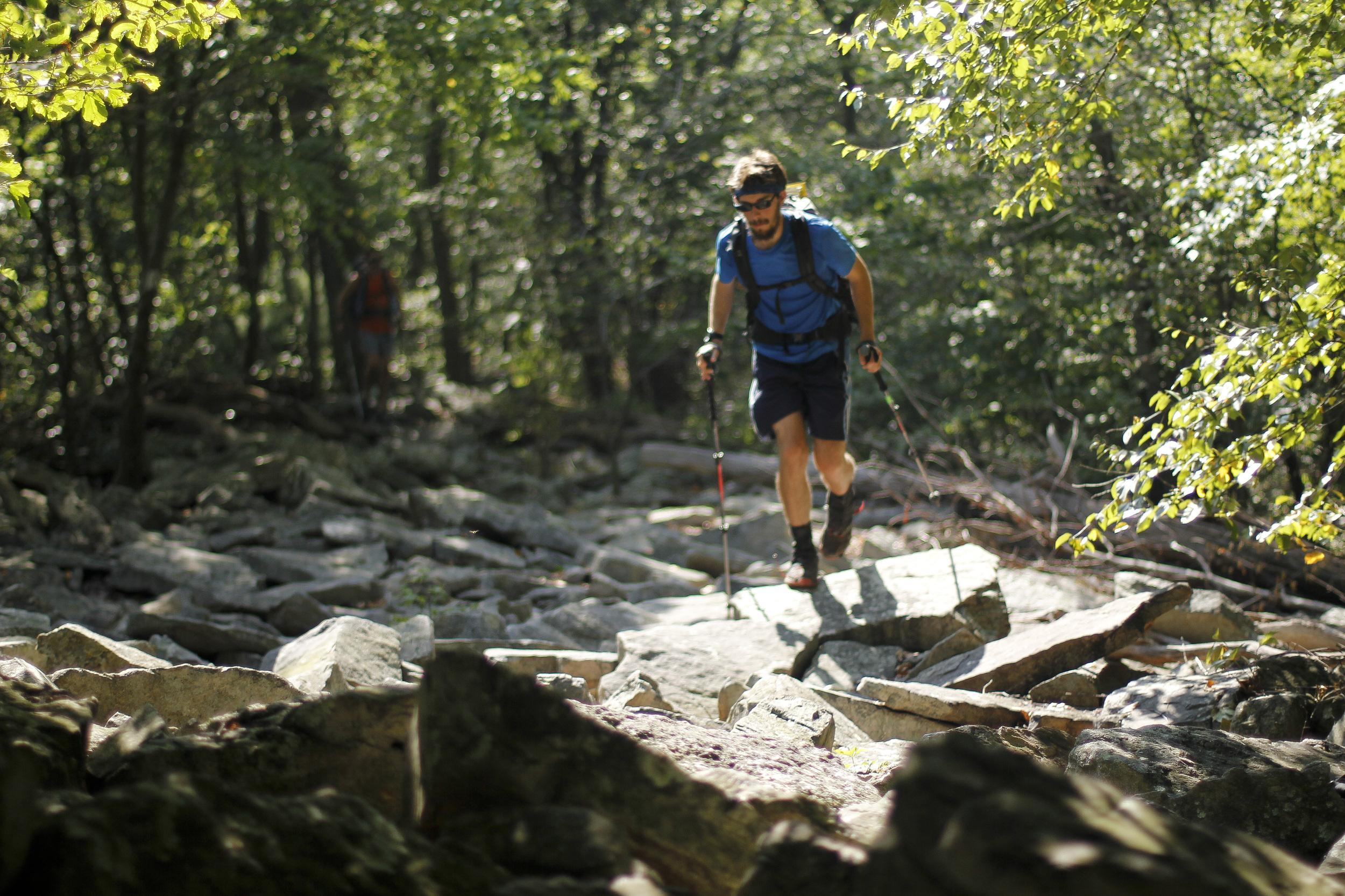 Long John finding his rhythm through the rocky terrain of Pennsylvania.