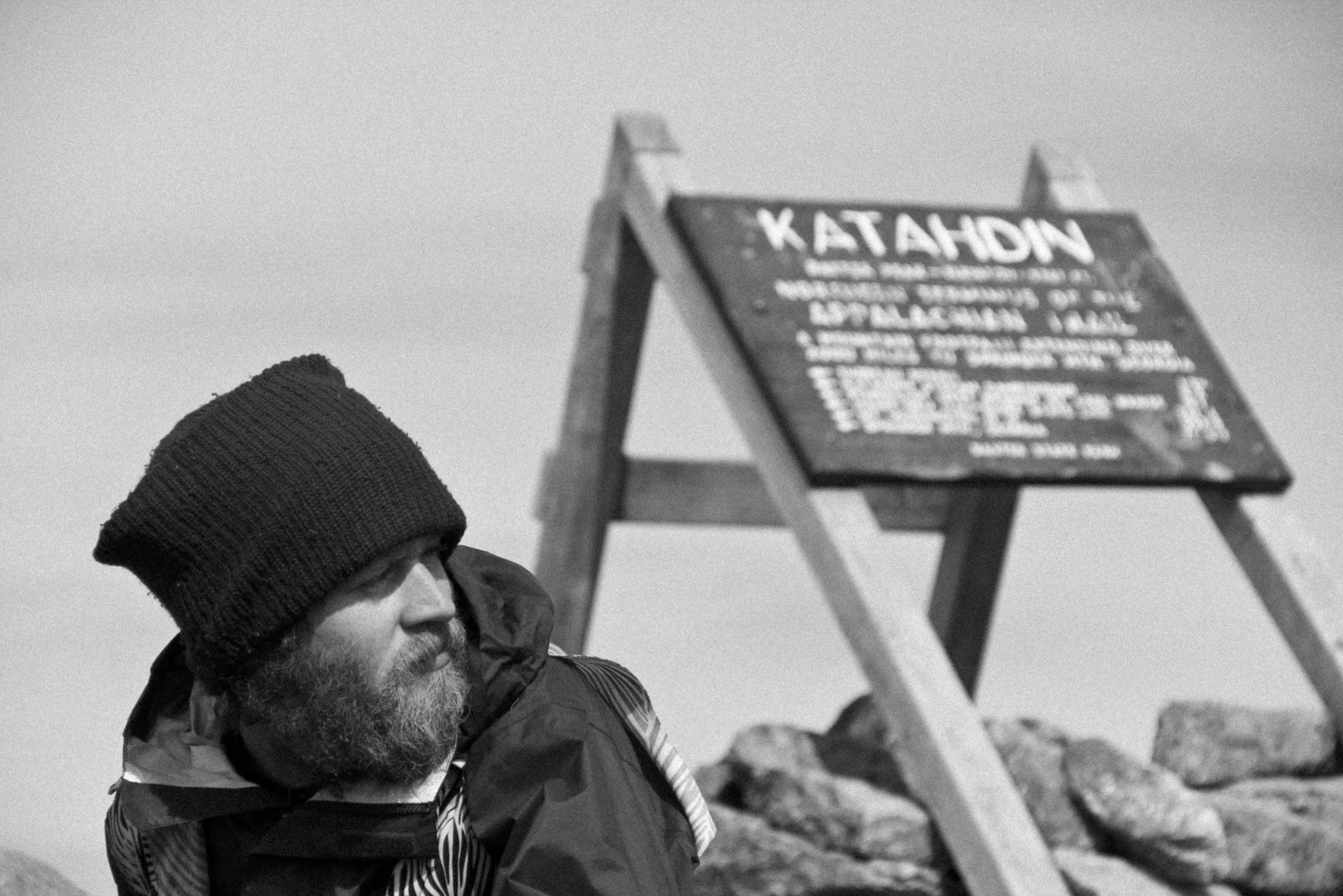 Samson Thee Herbalist caught up in the moment of fulfilling a dream on Mt. Katahdin. The northern terminus of the Appalachian Trail. 2,184.7 miles and growing.