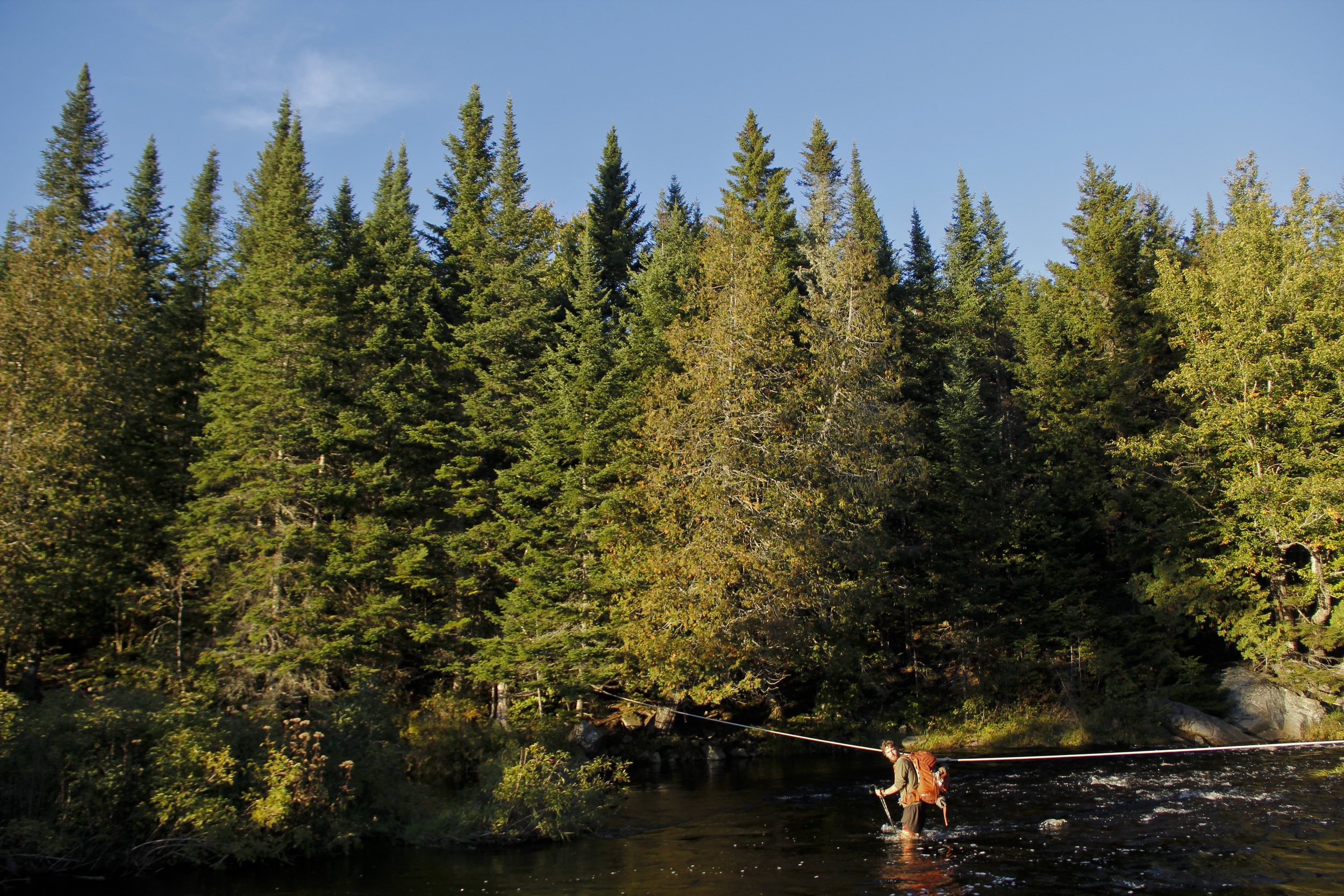 One of the many river crossings on the home stretch, the 100 Mile Wilderness of Maine.
