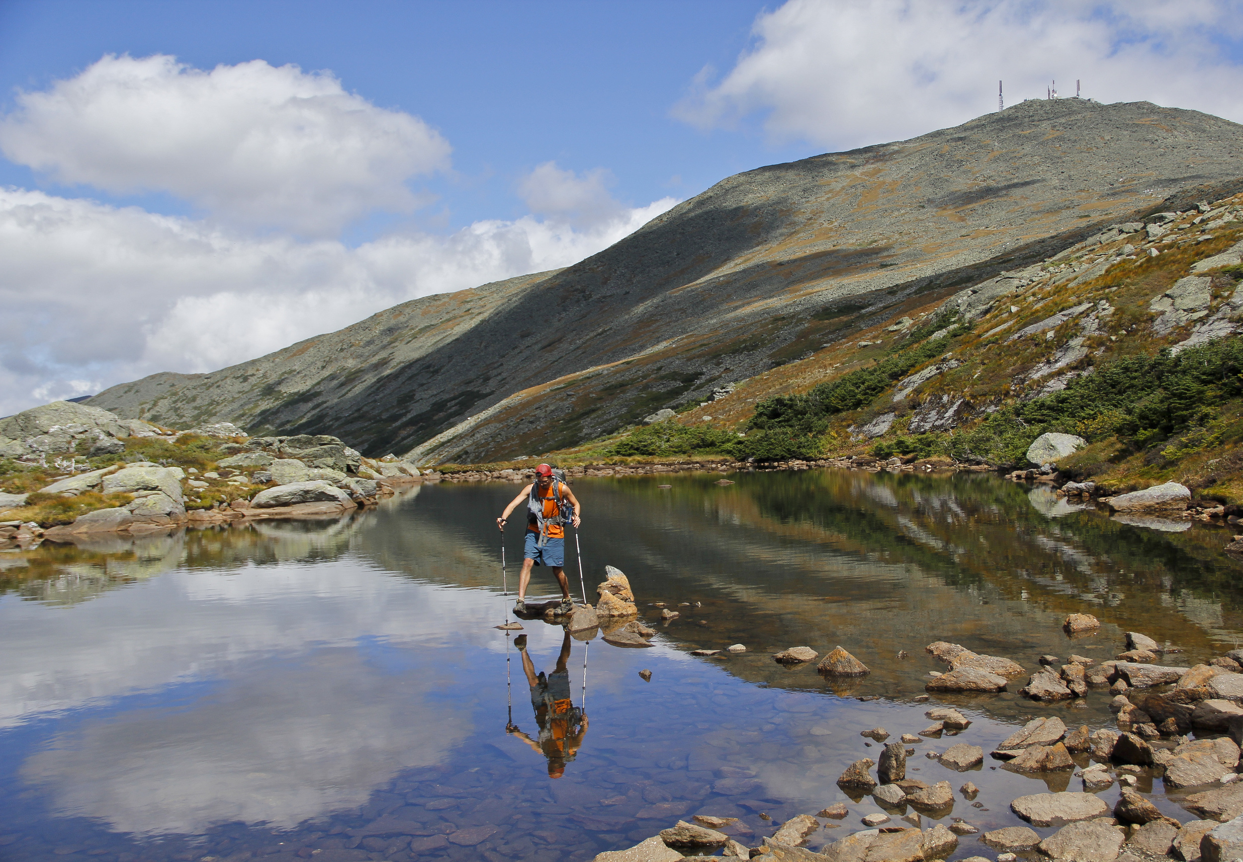 Rock hopping on the Lake of the Clouds, below Mt. Washington.