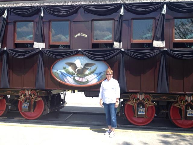 EEF grant winner Pam Evans in front of the Lincoln Funeral Train.
