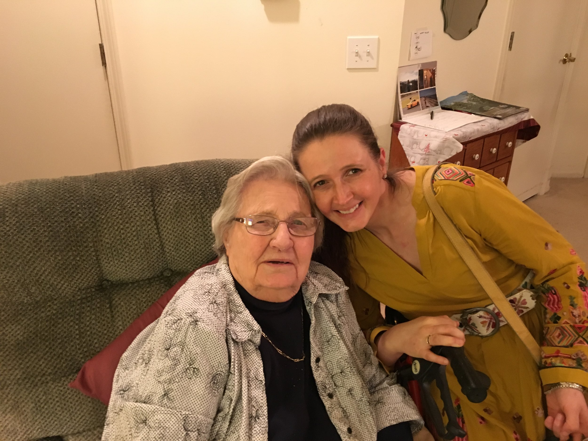 More of me and Grandma. Doesn't she look beautiful? I think so. I love her new glasses. I always thought my Grandma was a beautiful woman, and she hasn't changed a bit. I hope I look a little like her, and age as beautifully as she has. 92 years young she is!