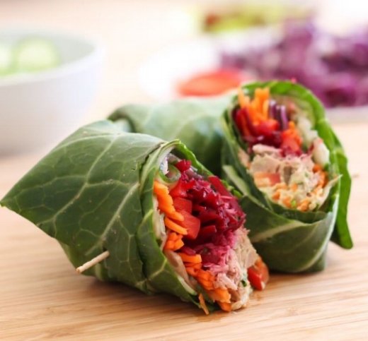 Healthy Tuna Salad Wrapped in Collards  -