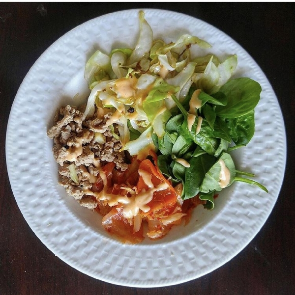 Asian Ground Turkey, Kimchi, Sauteed Cabbage & Spinach  -
