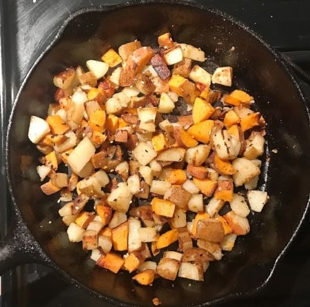 Sweet Potatoes and Russet Potatoes Cooked in 2 tbs ghee