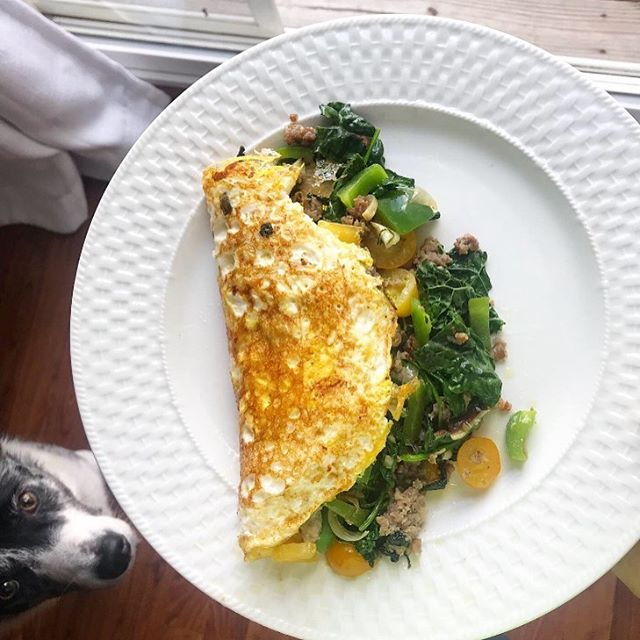 When you underestimate the power of your sausage, shiitake, kale, pepper, and cheddar omelette ...and your pup does too 💕🐶😍 . Helllooo Friday! What's everyone up to Post 4th of July? . Is it going to be a productive day getting errands done or a laid back day binging on Season 3 of Stranger Things 😏 📺 #youdonotwanttomissit