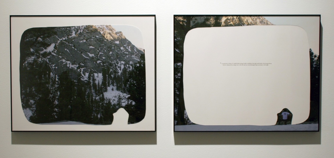 """a momentary release of candid forthcomings, 2008  cut-out chromogenic print on board with text, diptych, 50.8cm x 40.6cm / 20"""" x 16"""""""