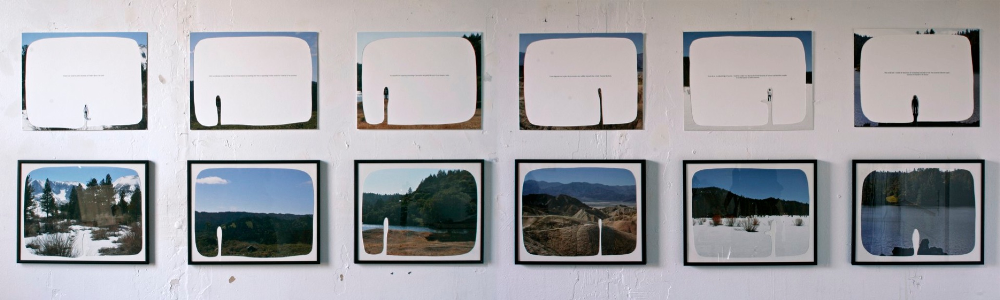 """enjoyable but temporary, 2008  6 cut-out chromogenic prints on board with text, a set of 12, 36cm x 28 cm / 14""""x 11"""""""