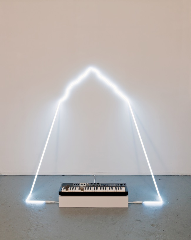in defiance of being #4, 2014  neon, Casiotone MT-68 keyboard, rocks, dimensions variable