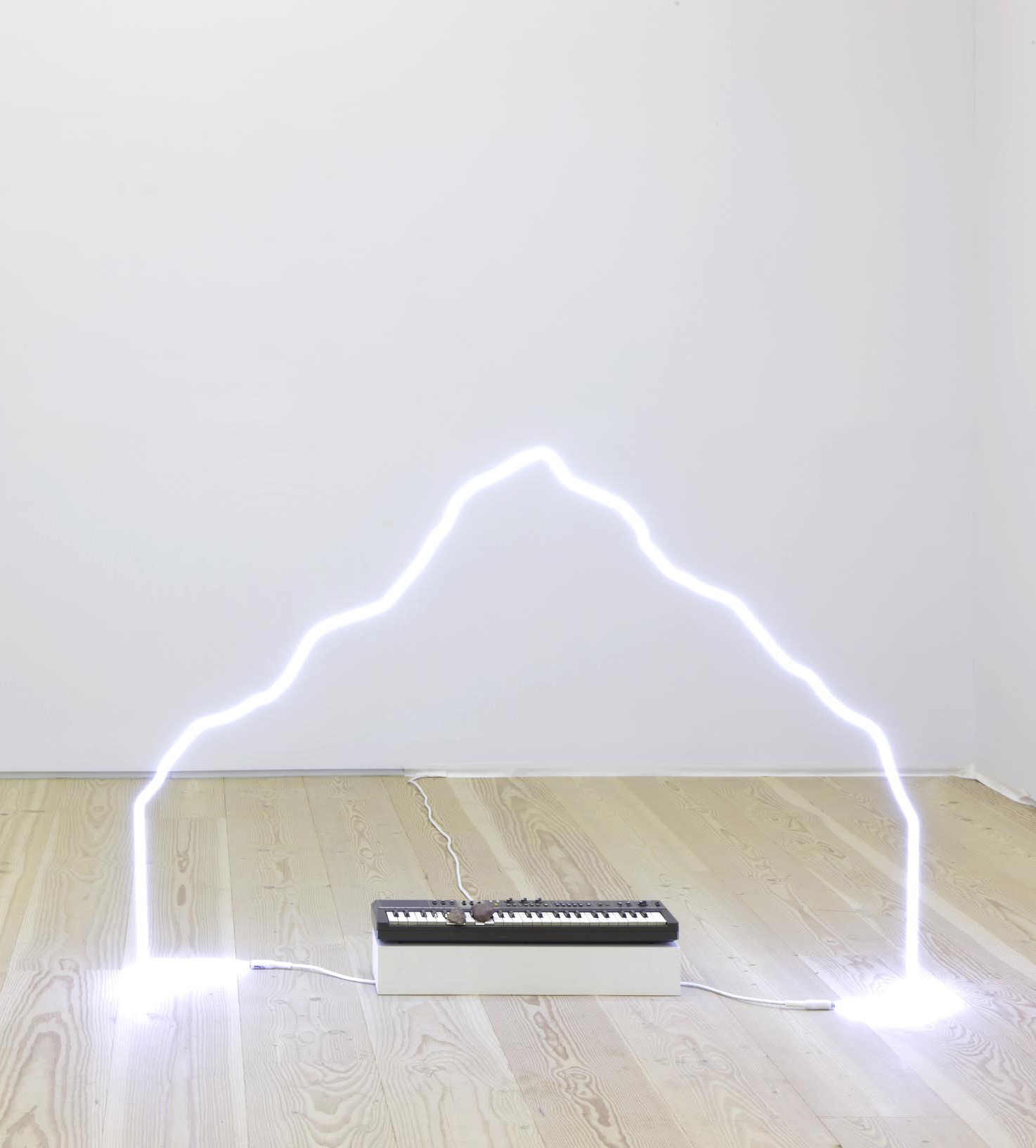 in defiance of being #2, 2014  neon, Casiotone MT-68 keyboard, rocks, dimensions variable