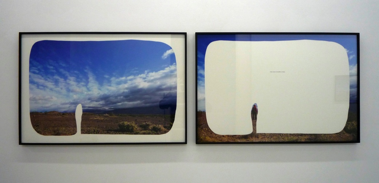 """the insistence of distance, 2010  cut-out chromogenic print on board with text, diptych, 91.5cm x 61cm / 36"""" x 24"""""""