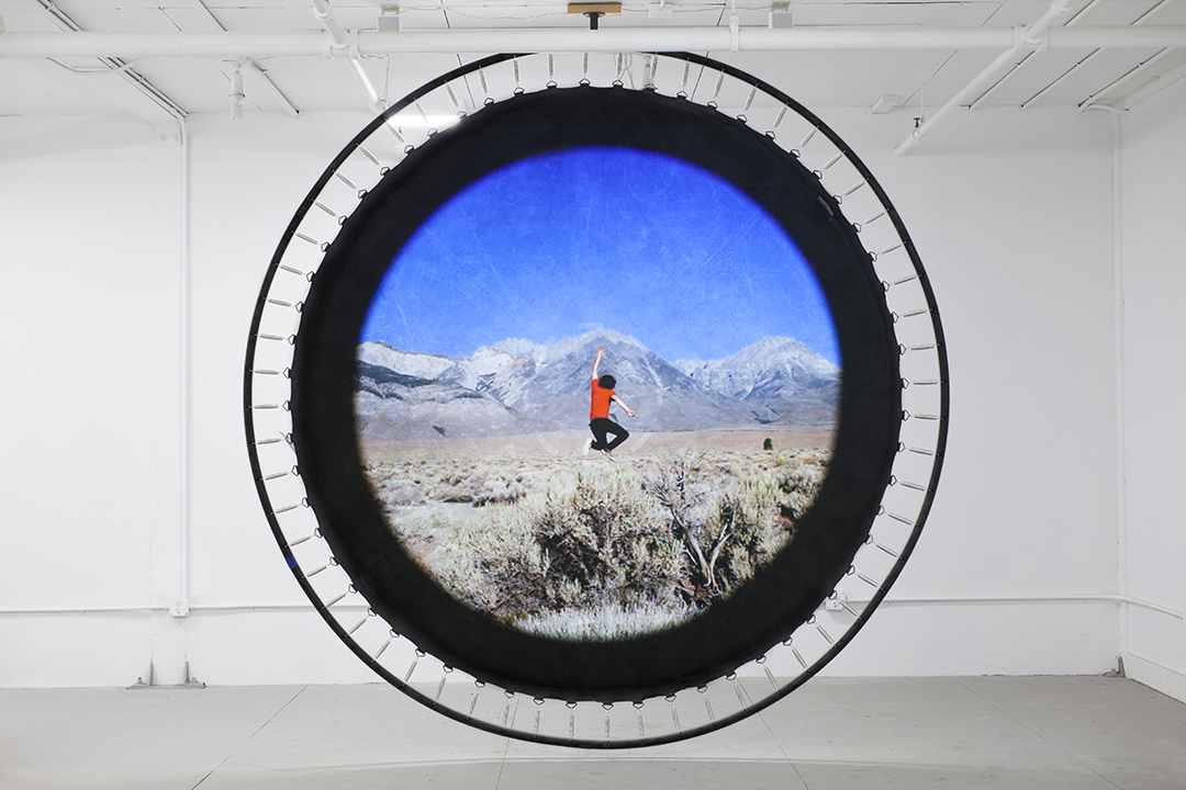 "outside repetition, 2018  projected video, modified trampoline, 305 cm / 120"" (dia)"