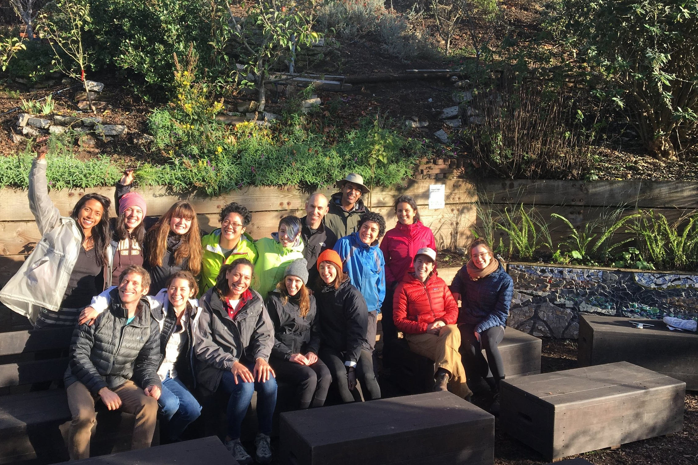 The 2018 Get Up! class posing in front of their newly planted propagation bed.