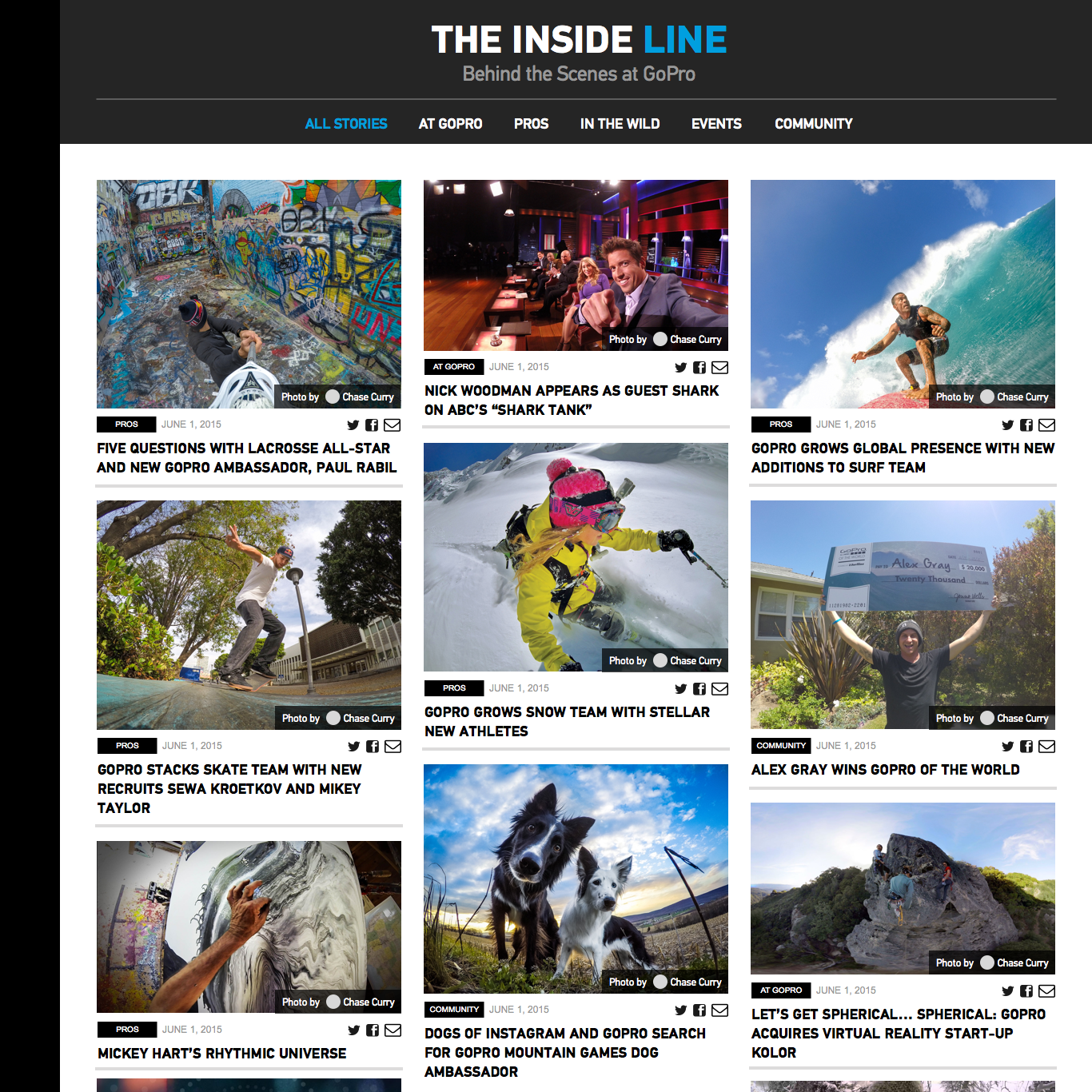 2015: GoPro News Blog (Inside Line) - Article List Visual Exploration