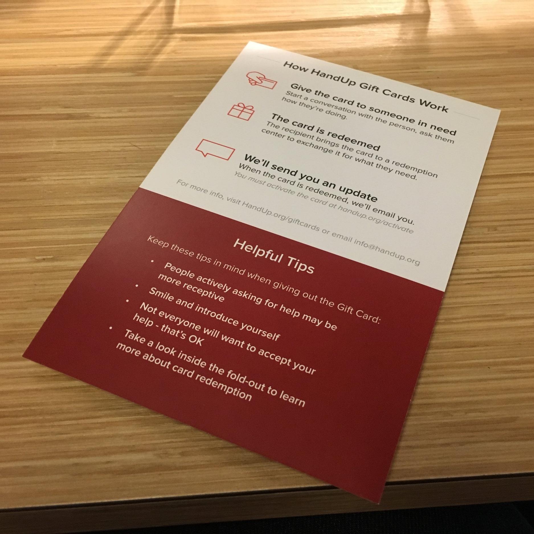 HandUp Gift Cards - Retail Packaging (Back)