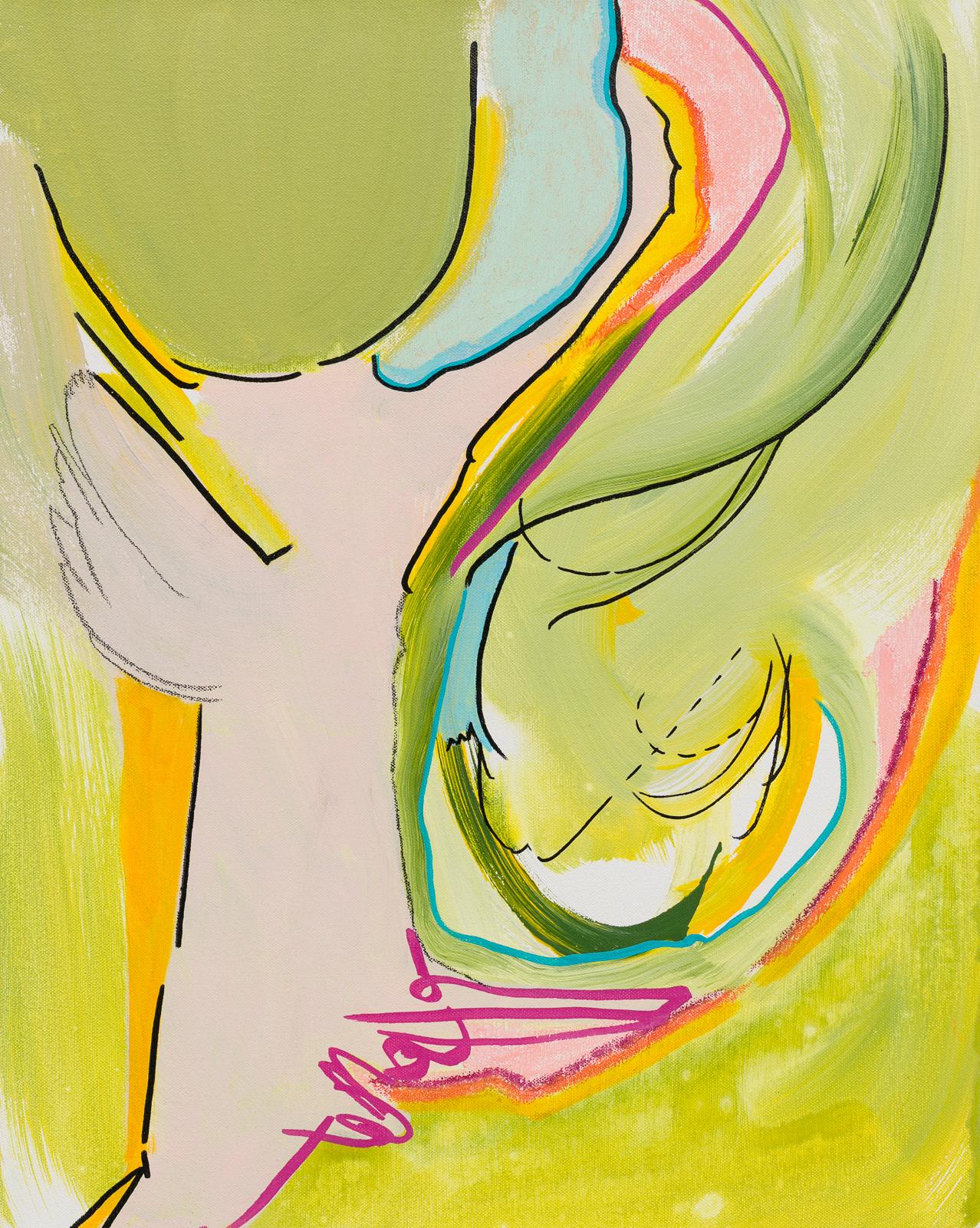 "Softly, Sweetly,  2018   20 x 16 x 2""  Acrylic, enamel, pastel, charcoal and marker on canvas"