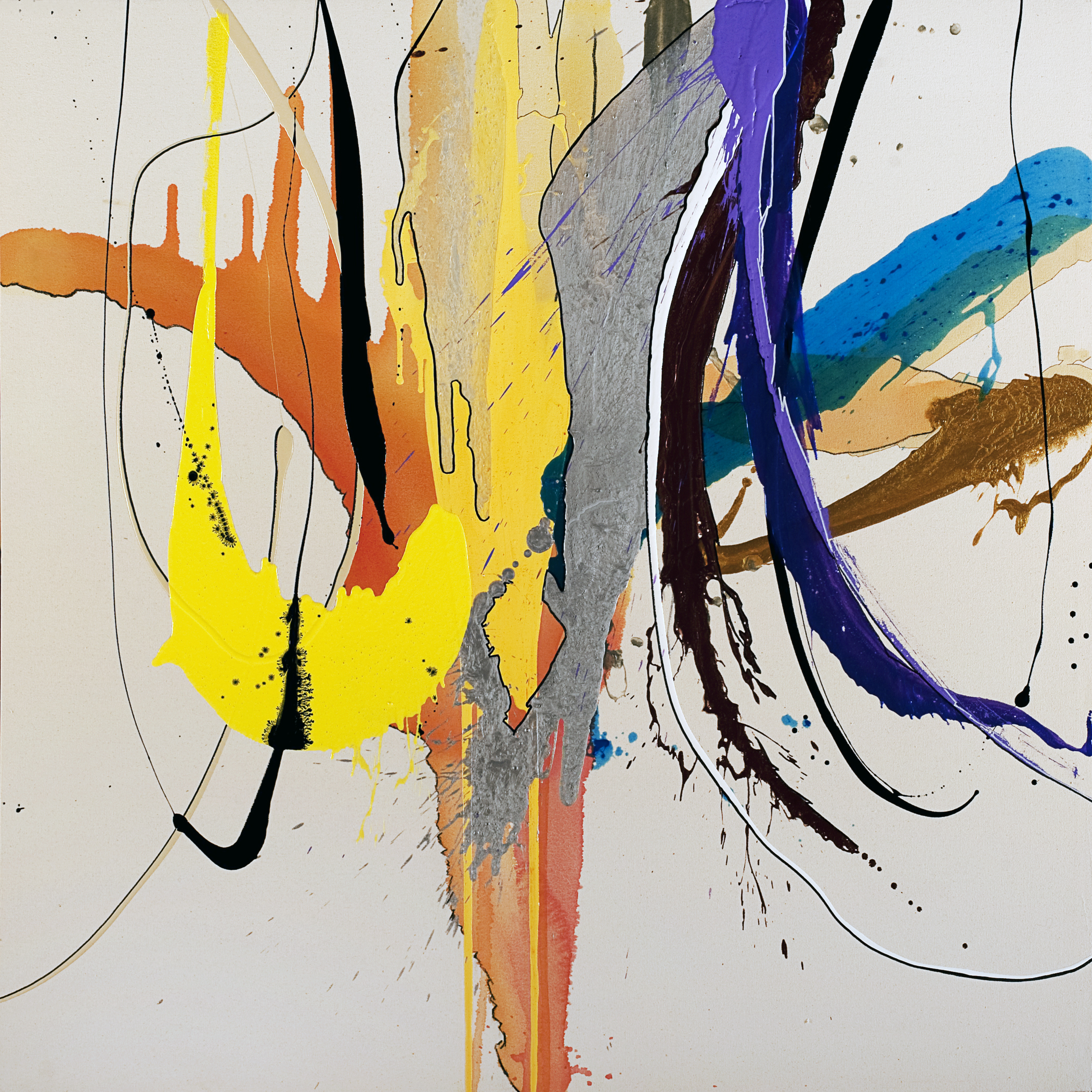 """Dripping in Gold,  2013 - SOLD   48 x 48 x 3""""  Acrylic, enamel, pastel, charcoal and marker on canvas"""