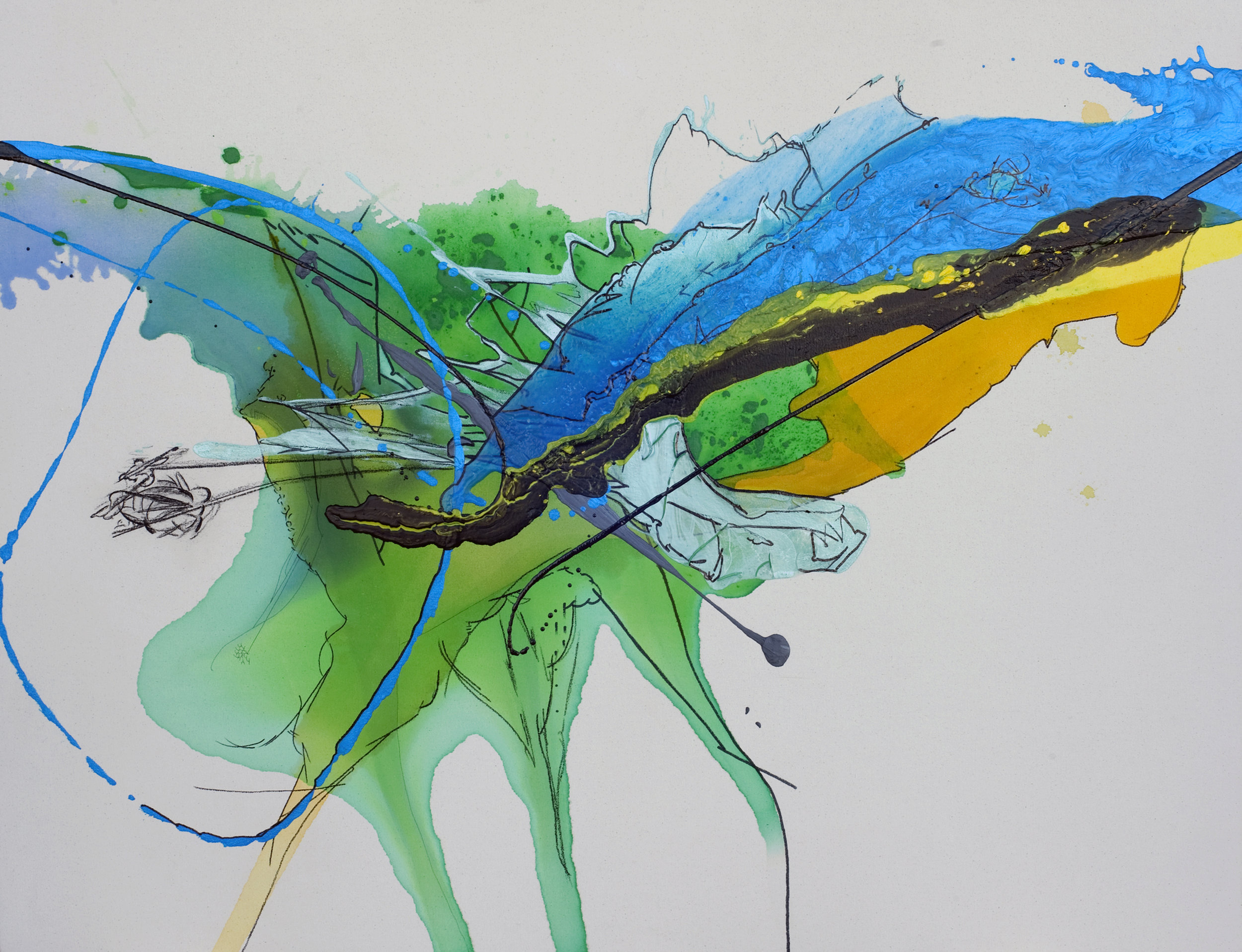 """Falling Fast , 2011 - SOLD   36 x 48 x 3""""  Acrylic, enamel, charcoal and ink on raw canvas"""