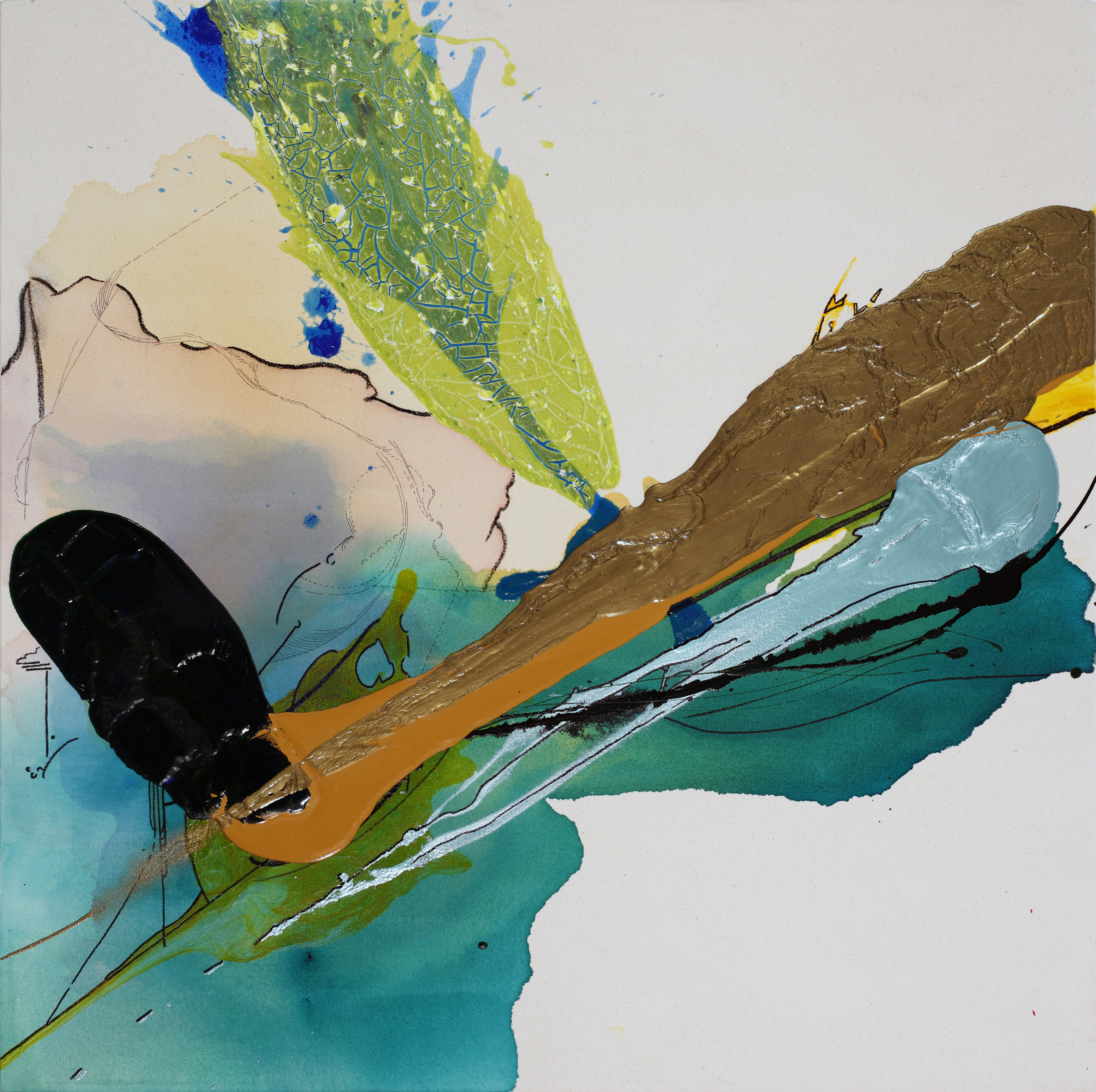 """Floating Outside Myself , 2011 - SOLD   36 x 36 x 3""""  Acrylic, enamel and ink on raw canvas"""