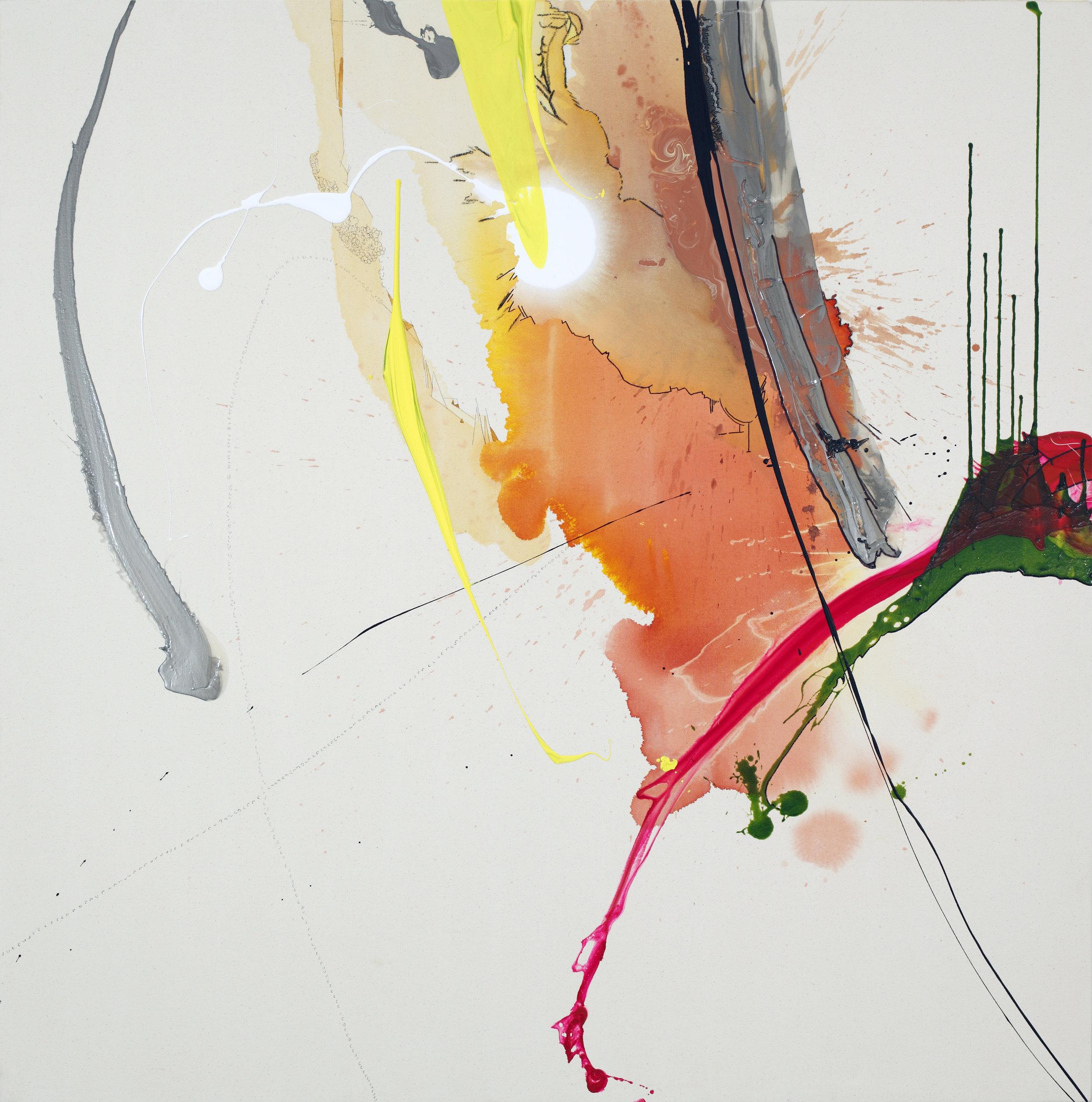 "Sherbert Meltdown , 2011 - SOLD   60 x 60 x 3""  Acrylic, enamel and ink on raw canvas"