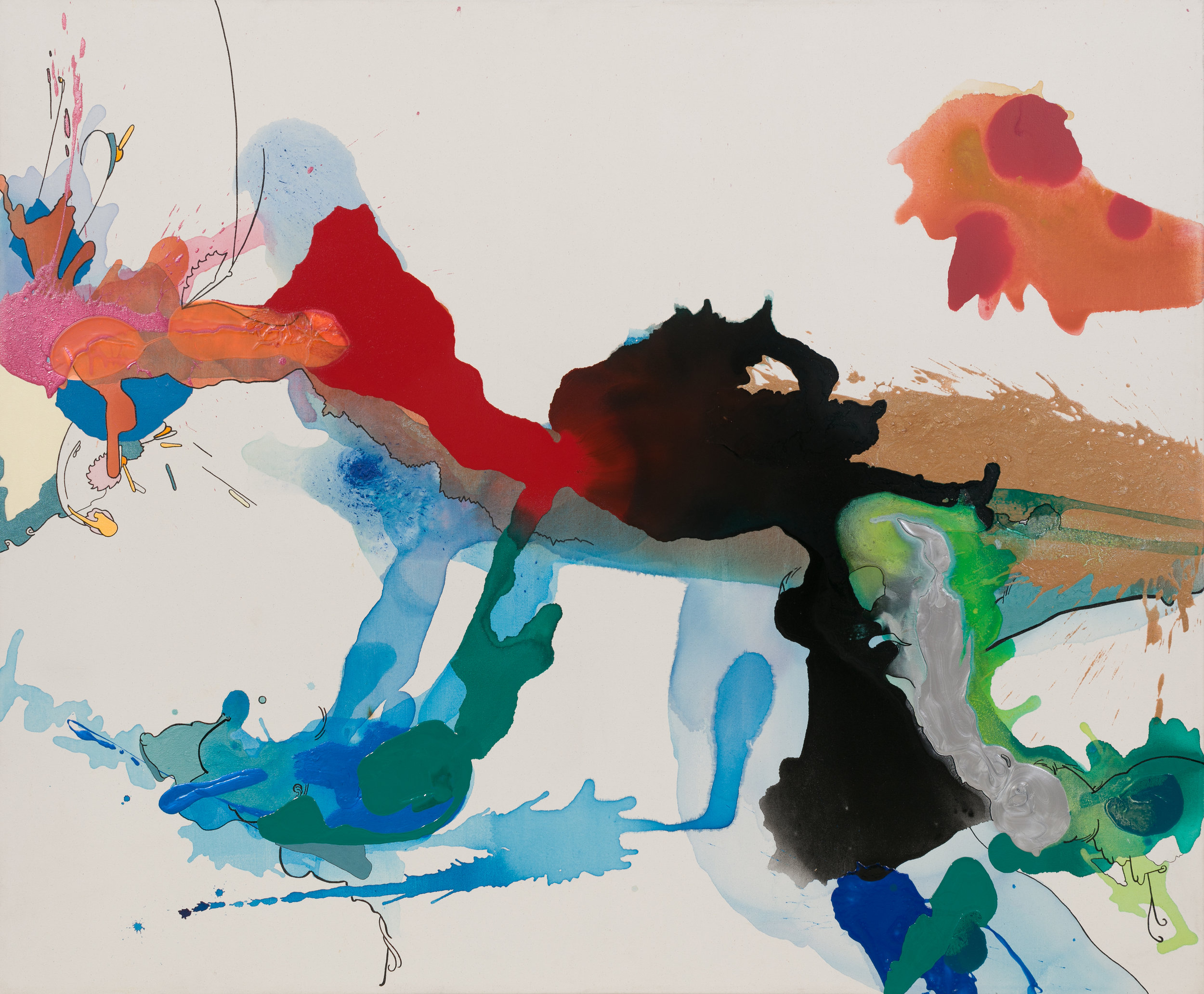 "A Blackhole's Resistance , 2008   60 x 72 x 3""  Acrylic, enamel, and marker on raw canvas"